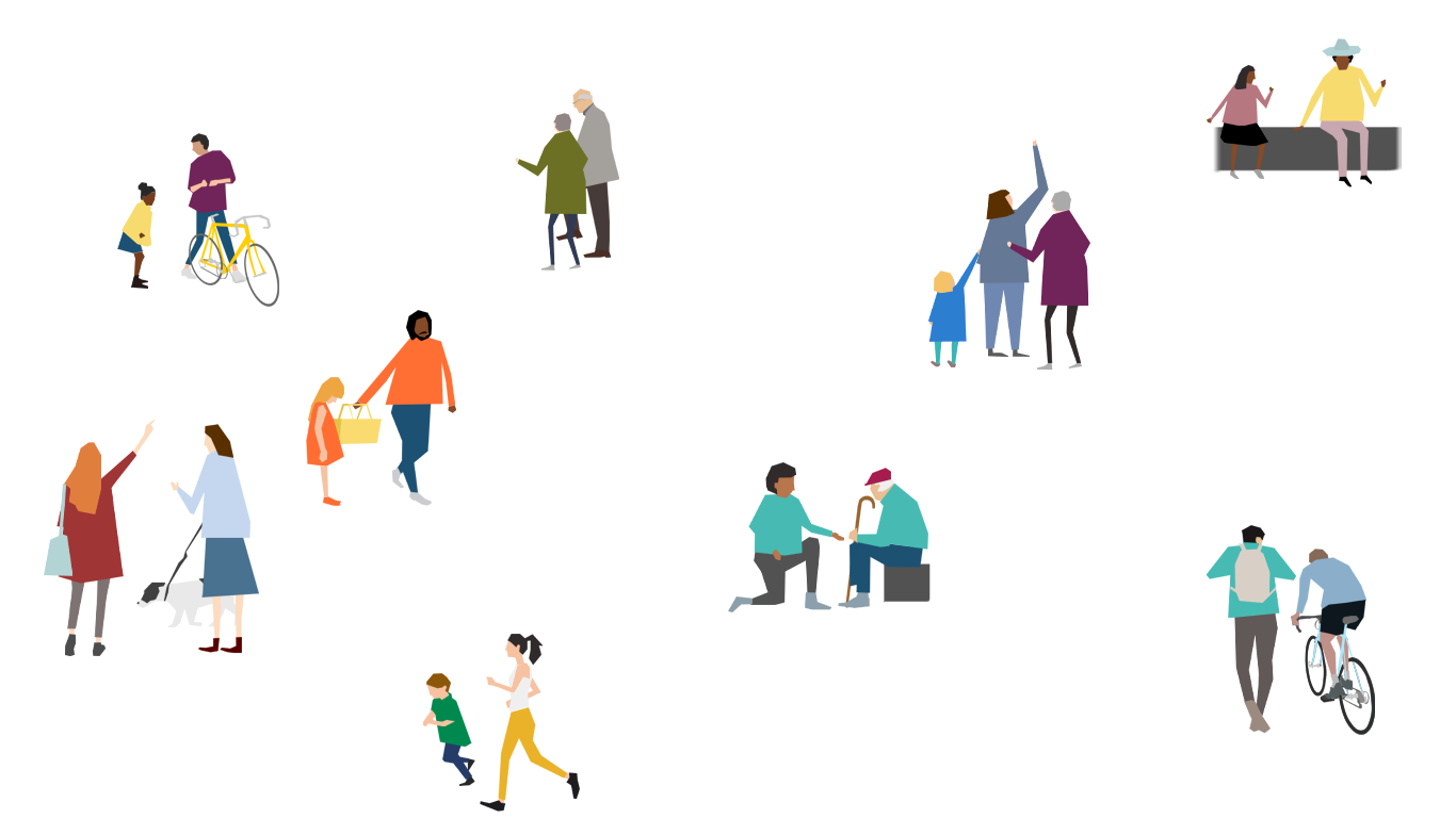 A digital illustration of many small diverse groups of people playing, cycling and communicating.